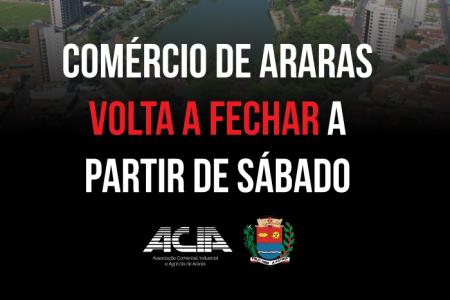 COMÉRCIO DE ARARAS VOLTA A FECHAR A PARTIR DE SÁBADO